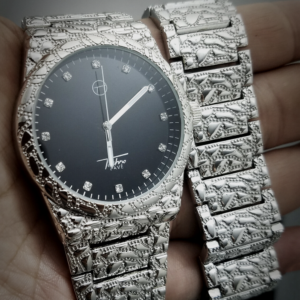 Men's AAA+ Zircon Bling Sterling Sliver Nugget Band Watch And Nugget Iced Out Bracelet Jewelry Set