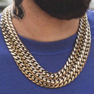 Unisex 12mm Steel Miami Cuban Link Chain Men's Box Clasp Necklace Women's Cuban Choker
