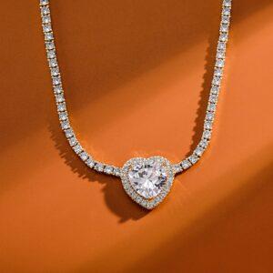 Women's Center Heart Charm Tennis Choker Necklace AAA+ Lab Simulated Zircon