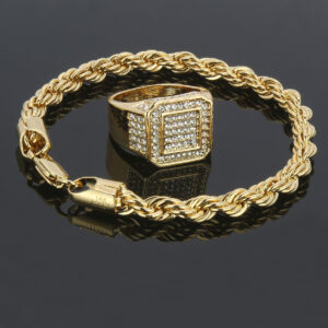 Men's 14k Stamped Twisted Rope Bracelet With A Rectangle Fully Iced Pinky Ring