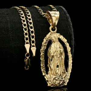 Virgin Mary Oval Pendant With 4mm 18″ Cuban Link Necklace