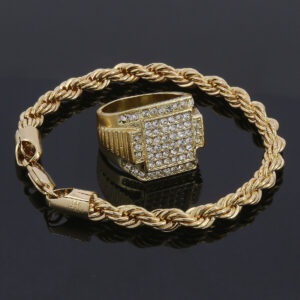 Men's 14k Stamped Twisted Rope Bracelet & 6 Line Square Pinky Ring Jewelry Set